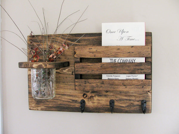 Mail Organizer with Mason Jar-3 Hooks
