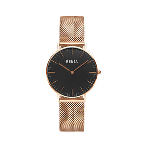 The Black Dial & Rose Strap Watch