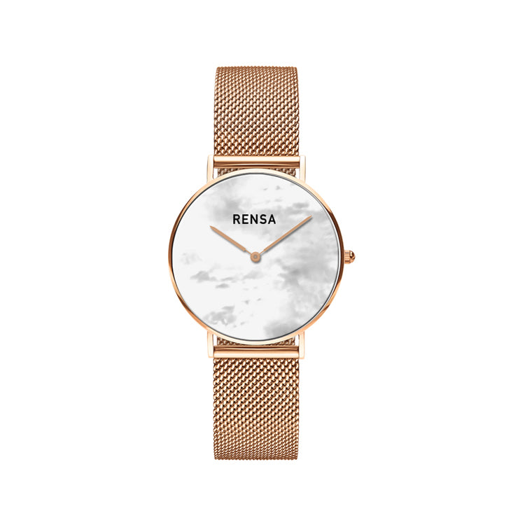 The White Pearl Dial & Rose Gold Strap Watch