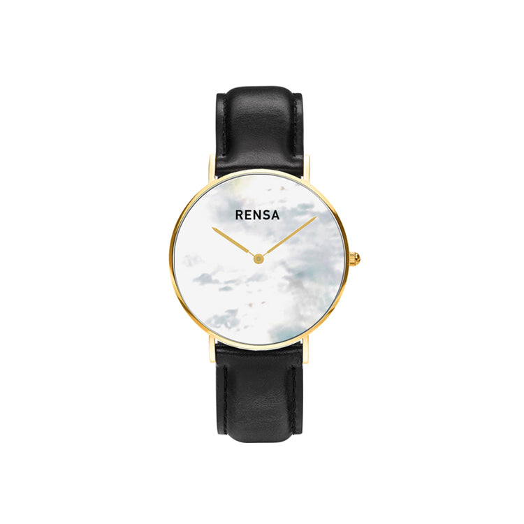 The White Pearl Dial & Black Leather Strap Watch
