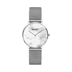 The White Pearl Dial & Silver Strap Watch