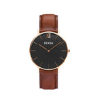 The Black Dial & Brown Leather Strap Watch