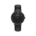 The Black Leather Strap Watch