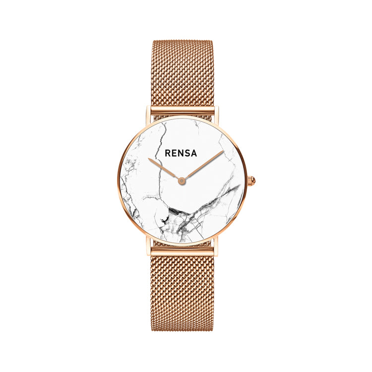 The White Marble Dial & Rose Gold Strap Watch