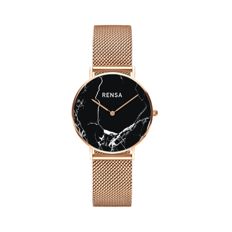 The Black Marble Dial & Rose Gold Strap Watch