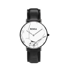 The White Marble Dial & Black Leather Strap Watch