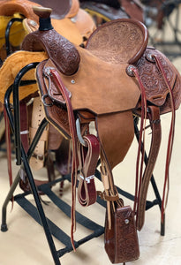 "Bronco Billy's 14"" Team Roper in Chocolate with Tooled Seat (10-19)"