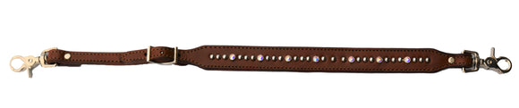 Chocolate Leather Wither Strap with Silver Dots and Gems (200-TJ)