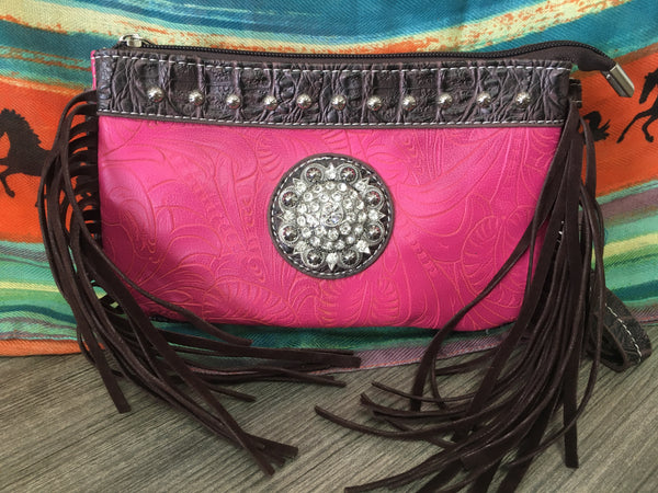 Pink & Brown Fringe Mini - Purse (MPPKF)