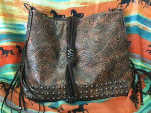 Brown Floral Tooled Shoulder Purse (PBRFR)