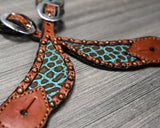 Spur Strap with Giraffe Inlay and Copper Dots (382-MG)