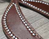 Oiled Spur Strap with Silver Dots and Turquoise Keepers (382-HTP)