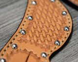 Spur Straps Basket Weave with Silver Dots
