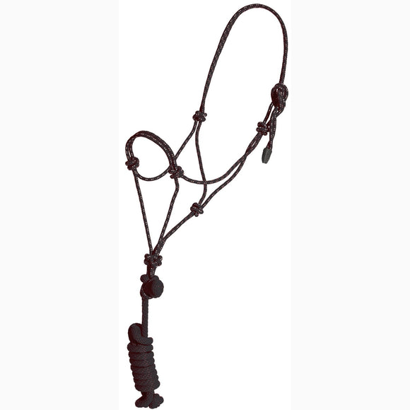 Black Nylon Rope Colt Halter with Lead (8103)