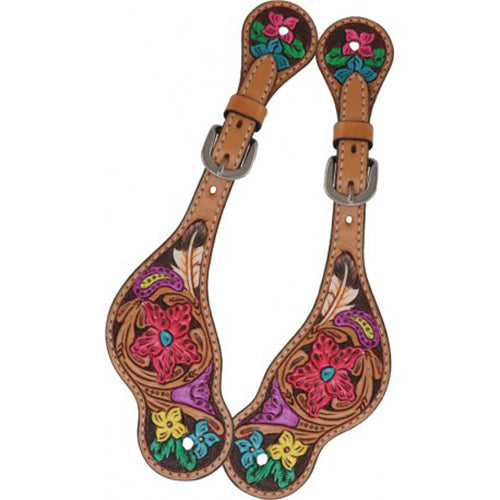 Rafter T Hand Painted Floral Spur Straps