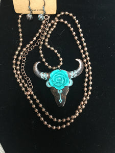 Copper Bead Longhorn Necklace (NCOBELH)