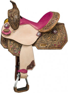 "Silver Royal 12"" Pink Azalea Youth Saddle"