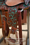 "13.5""  Turquoise Fire Flower Barrel Saddle"
