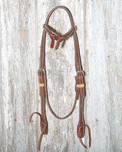 Bronco Billy's Headstall Tie Front Browband Chocolate with Basketweave Tooling (BBGL-TFTC)