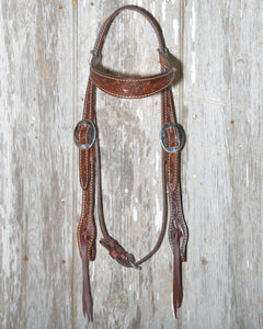 Chocolate Browband Tooled Headstall (E-2800)