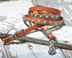 Rafter T Rawhide Turquoise Studded Roping Reins (RN218)