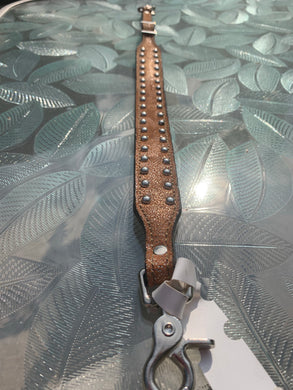Leather Wither Strap with Copper Splatter and Silver Dots