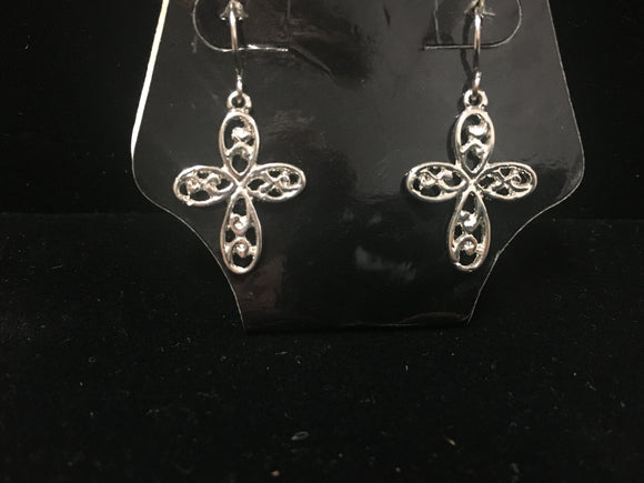 Silver Infinity Cross Earrings (STCRE)