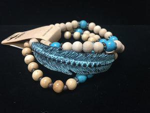 Turquoise & Feather Bracelet (WBR-TRQ)