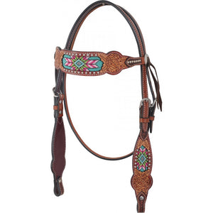 Rafter T Beaded Inlay Browband Headstall (BB3569)