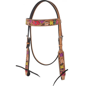 Rafter T Hand Painted Floral Browband Headstall (BB3580)