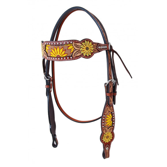 Rafter T Beaded Sunflower Browband Headstall (BB3800)