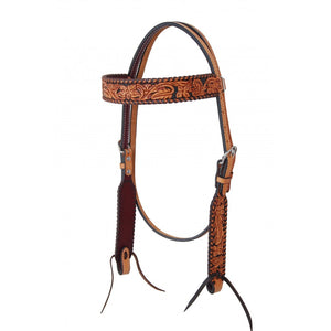 Rafter T Floral Tooled Browband Headstall (BB3657)