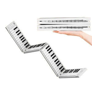 Foldable Piano Keyboard 88 Keys Electronic Pianos Portable Keyboard 128 Tones Dual Speakers Headphone Output with Sustain Pedal