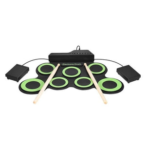 Portable Electronic Drum Digital USB 7 Pads Roll up Drum Set Silicone Electric Drum Pad Kit With DrumSticks Foot Pedal