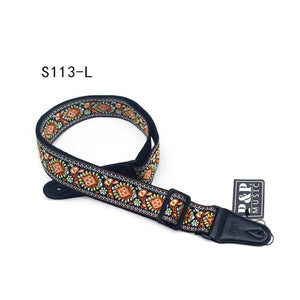 Guitar Strap Embroidery Belt Adjustable Jacquard Band with Leather End for Bass Acoustic Electric Folk Guitar Musical Instrument
