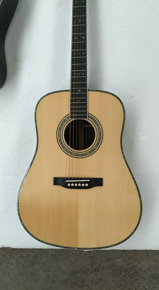 free shipping AAAA custom all solid nature one piece neck custom dreadnought D style acoustic electric guitar