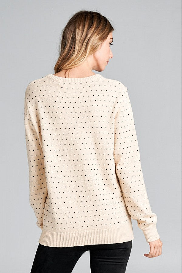 Embroidered Hearts Sweater