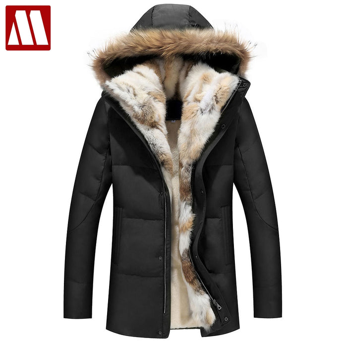 2018 Winter Unisex Down Jackets Detachable Fur collar Hooded Coat Warm Outwear Real Rabbit Raccoon Hood Women Men Thick Coats