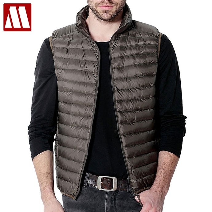 New Winter Men Down Vest Ultra Light 90% White Duck Down Outwear Sleeveless Warm Slim WaistCoat Black Wine Red Jacket for Man
