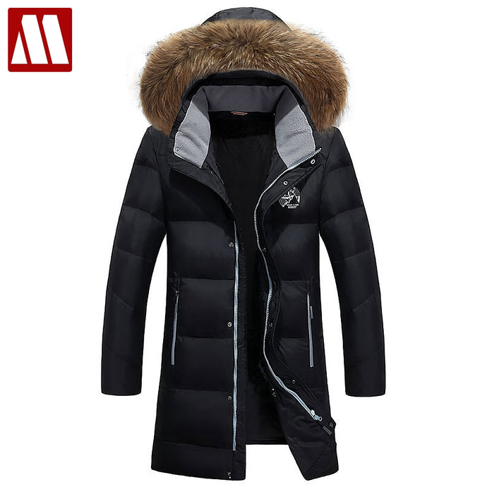 New Brand 2018 Winter Down Parkas Men's Fashion Warm Long Down Jacket Hooded Fur Collar White Duck Down Coat Plus Size 5XL 6XL