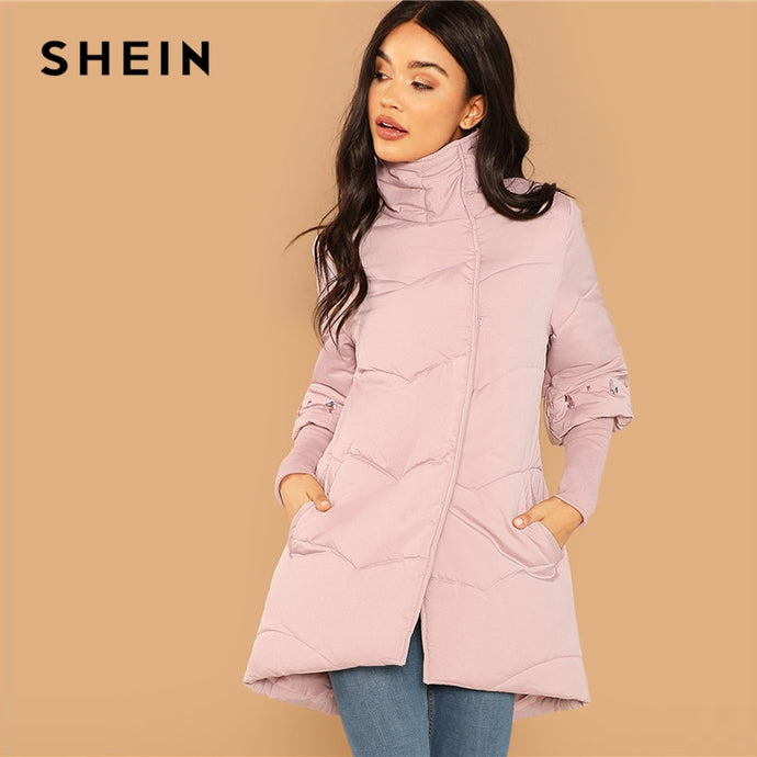 SHEIN Weekend Casual Pink Elegant Rhinestone Detail High Neck Padded Button Coat 2018 Winter Casual Women Coat And Outerwear