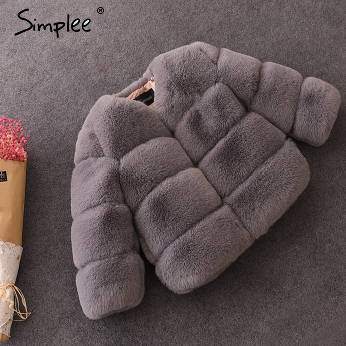 Simplee winter girls kids' fur coat Baby plush faux fur girls' jackets and coats Thick warm elegant kids parkas outerwear  2018