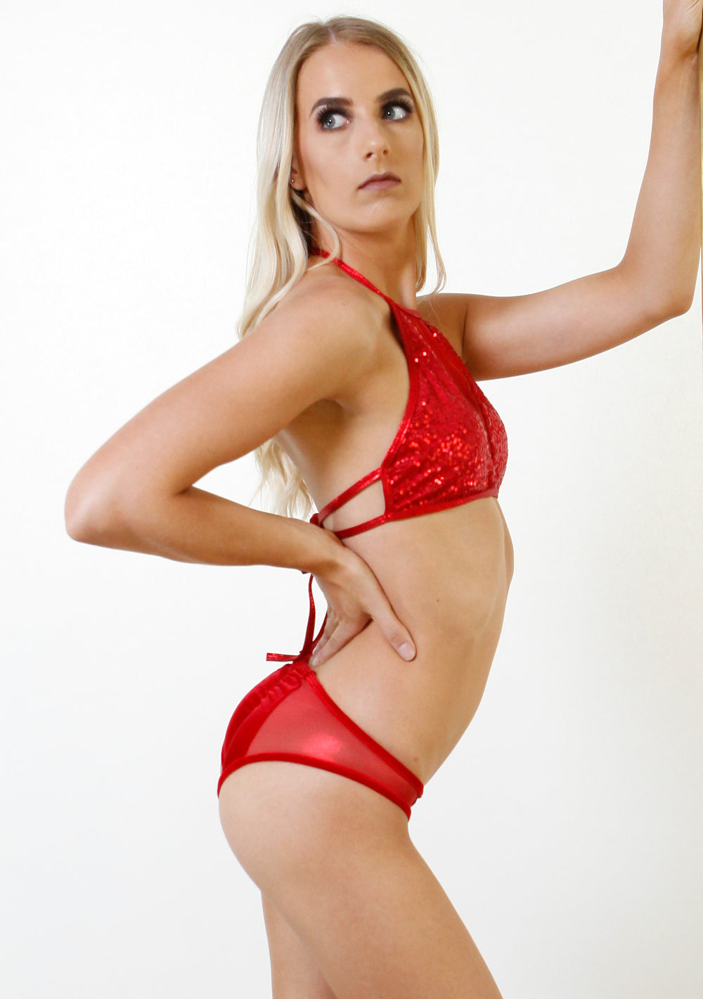 Red Mesh Sequin Halter