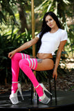 Hot Pink with White Stripes Super Tall Socks