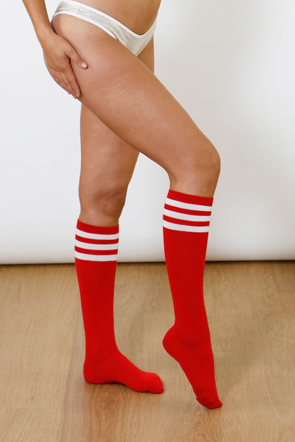 Red with White Stripes Sporty Socks