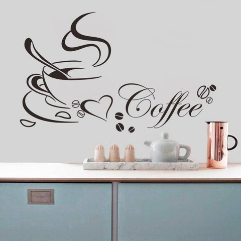 DIY Coffee Cup Love Vinyl Removable Wall Sticker