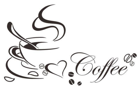 Image of DIY Coffee Cup Love Vinyl Removable Wall Sticker
