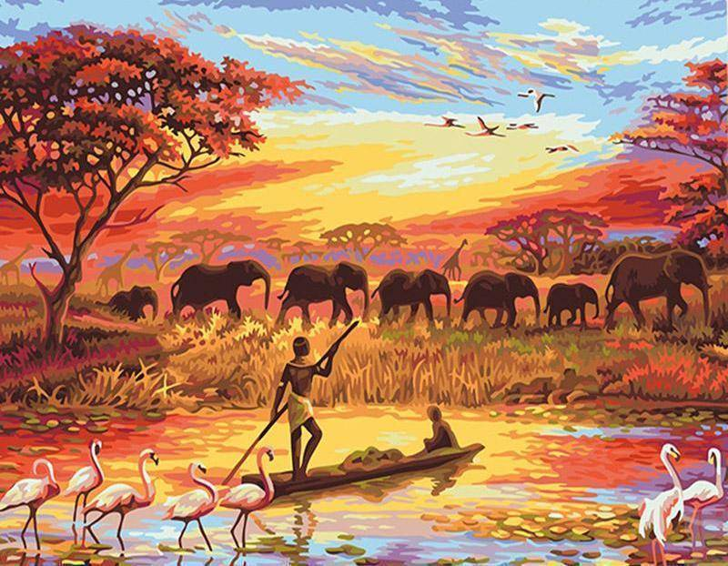 Elephant Sunset DIY Painting By Number Kit