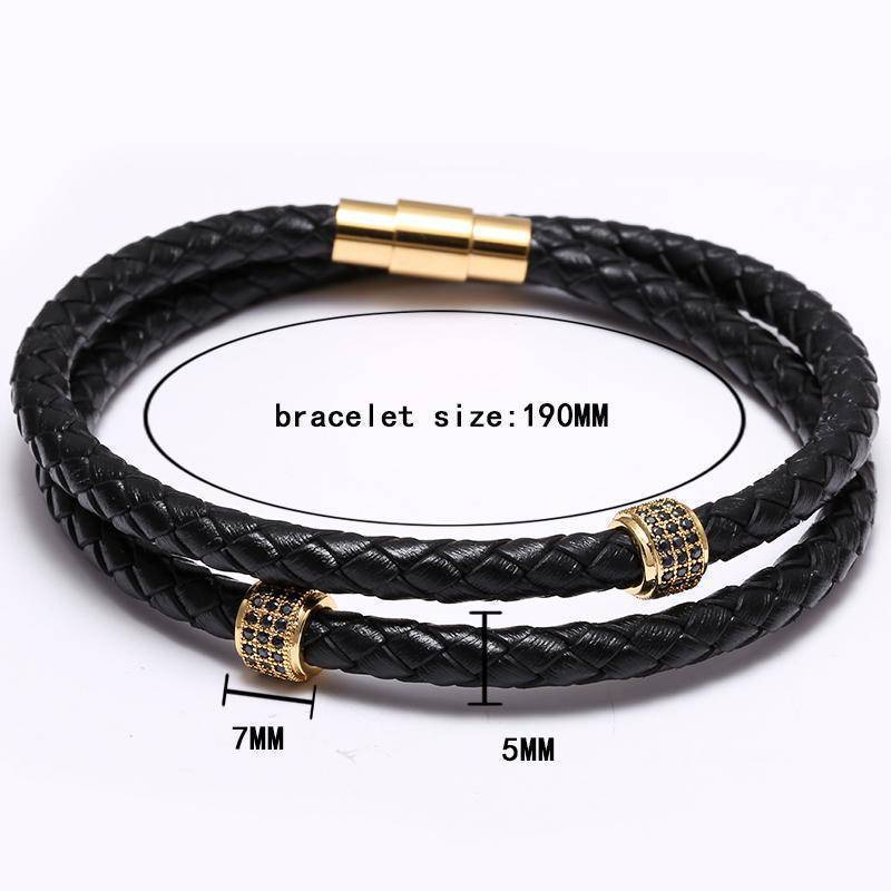Mcllroy Bracelets Stainless Steel Black Leather