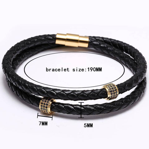 Image of Mcllroy Bracelets Stainless Steel Black Leather